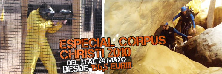Multiaventura en Corpus Christi: barranquismo, rafting, paintball...